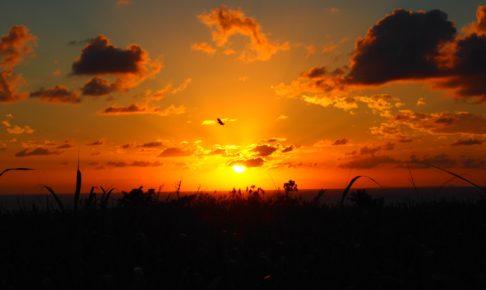 与論高校の西側から見た夕日 2